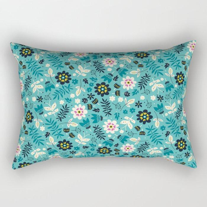 Fresh Blossoms (Greens) Rectangular Pillow