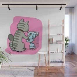 Cats Battling Toilet Paper Rolls Wall Mural