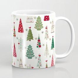 Scandinavian Christmas Trees Pattern - Red Green Coffee Mug