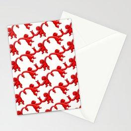 Monkey Toy Pattern - Red Stationery Cards