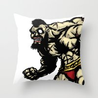 street fighter Throw Pillows featuring Bear Wrestler - Street Fighter by Peter Forsman
