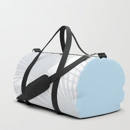 Tropical Pastel Grey Palm Leaves on Soft Blue Duffle Bag