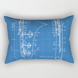 Selmer Saxophone Patent - Saxophone Art - Blueprint Rectangular Pillow
