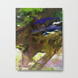 Tree Avenue Lime Green Cobalt Blue Metal Print