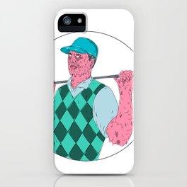 Golfer Golf Club Circle Grime Art iPhone Case
