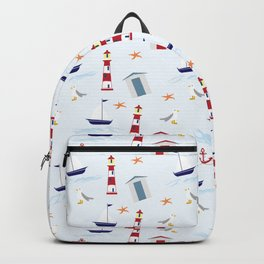 Nautical Pattern (Marine Pattern) - Blue Red White Backpack