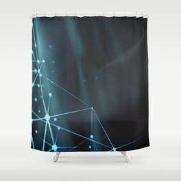 Blue modern dynamic plasma energy laser futuristic virtual technology background Shower Curtain