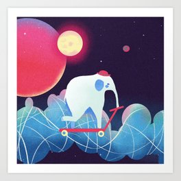 Space Elephant riding  Kick scooter Art Print
