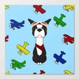 Bobble Pilot Boston Terrier Canvas Print