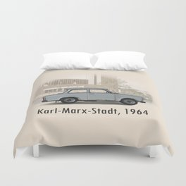 A Trabant in Karl-Marx-Stadt Duvet Cover