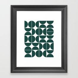 Mid Century Modern Geometric 04 Dark Green Framed Art Print