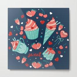 Valentine's sweets - Blue Metal Print