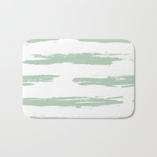 Swipe Stripe Pastel Cactus Green and White Bath Mat