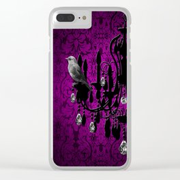 Bird & Purple Damask Sparkly Chandelier Silhouette Clear iPhone Case
