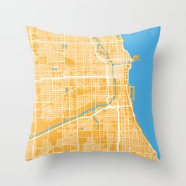 Chicago Map | Yellow & Blue Colors Throw Pillow