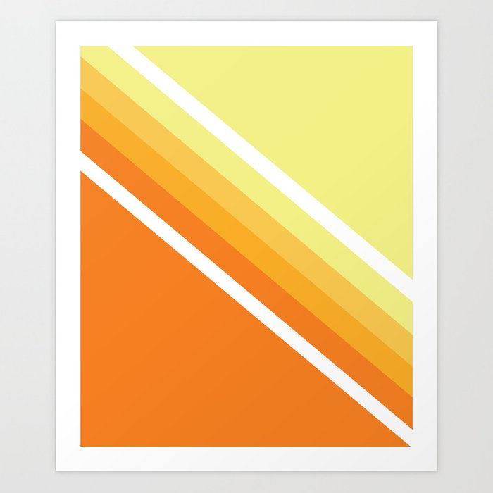 Retro Orange n' Yellow Lines Art Print