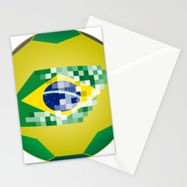 Football ball with Brazil flag Stationery Cards