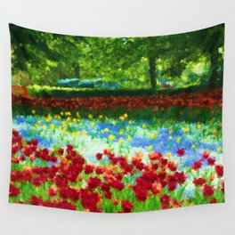 Colorful Impressionist Flower Field - II Wall Tapestry