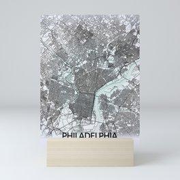 Philadelphia, PA, USA, White, City, Map Mini Art Print