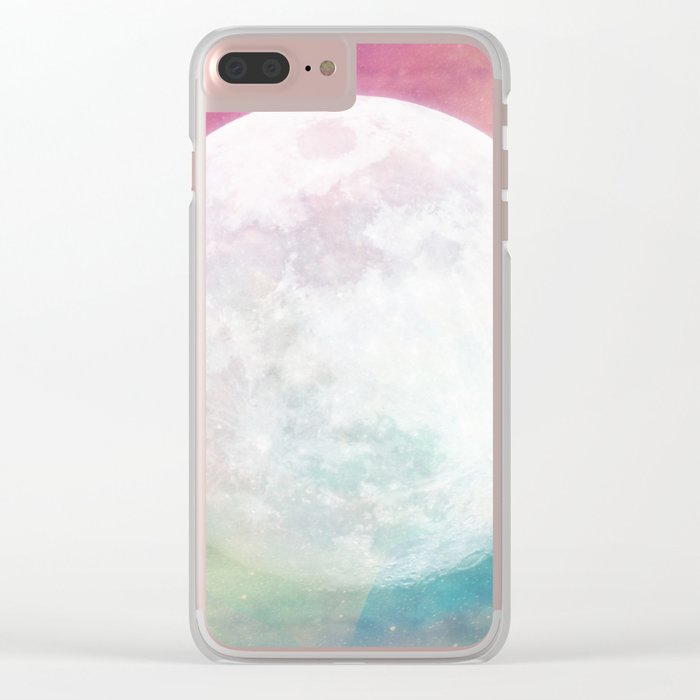 Moon in Iridescent Nebula Clear iPhone Case
