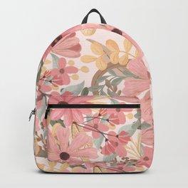 Pink Sage Green Floral Leaves Watercolor Pattern Backpack