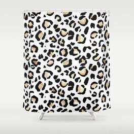 Leopard Animal Print Watercolour Painting Shower Curtain