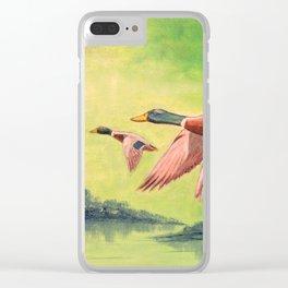 Mallard Ducks In Flight Clear iPhone Case