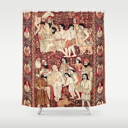 Kerman South Persian Pictorial Rug with Joseph Shower Curtain