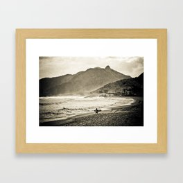 The Surfer and the Mountain Framed Art Print