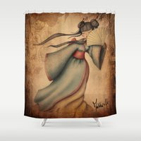 geisha Shower Curtains featuring Geisha by Matita's Art