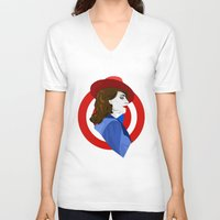 agent carter V-neck T-shirts featuring Agent Carter by fabulosaurus