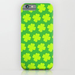 St. Patrick's Day Neon Green Shamrock Pattern iPhone Case