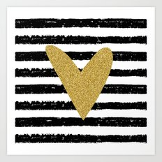 Heart on stripes Art Print