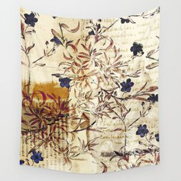 Vintage floral collage on paper Wall Tapestry