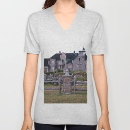 Stone Mansion on the River Unisex V-Neck