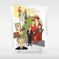 twin peaks Shower Curtains featuring Twin Peaks by Collectif PinUp!