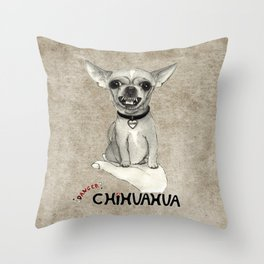 Danger! Chihuahua. Throw Pillow