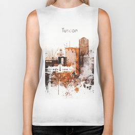 Brown Watercolor Tucson watercolor skyline Biker Tank