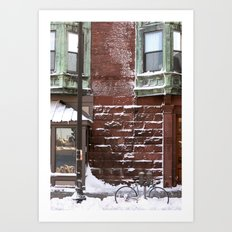 Snowy Bike Art Print