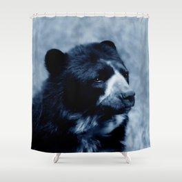 Black bear contemplating life Shower Curtain