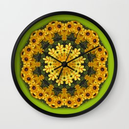 Black-eyed Susans, Floral mandala-style Wall Clock