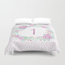 Monogram I - cute girls purple florals flower wreath, lilac florals, baby girl, baby blanket Duvet Cover