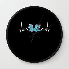 Cute Chubby Unicorn Rhino Heartbeat Gift Wall Clock