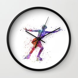 Figure skating 1 in watercolor with splatters Wall Clock