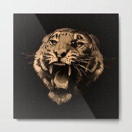 Vintage Tiger in black Metal Print