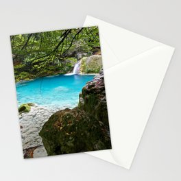 forest blue lake white marble stones forest waterfall lake Navarra Spain Stationery Cards