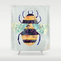 bee Shower Curtains featuring bee by Yellow Button Studio