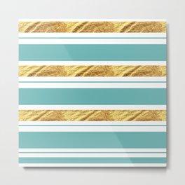 Gold and Aqua Blue Stripes Metal Print