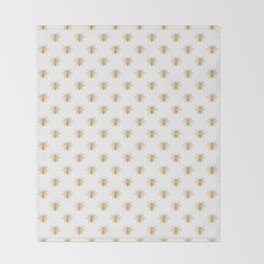 Gold Metallic Faux Foil Photo-Effect Bees on White Throw Blanket