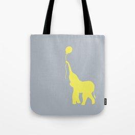 Elephant with Balloon - Lemon Tote Bag
